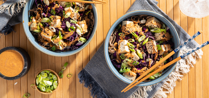Soba Noodle Bowls with Red Curry Almond Butter Dressing