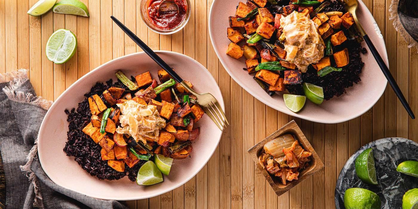 1400 700 vegan gochujang veggie bowls with midnight grains   kimchi mayo web horizontal