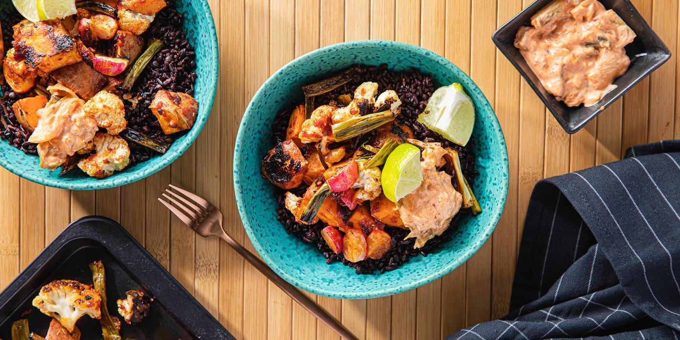 Gochujang Veggie Bowls with Midnight Grains & Kimchi Mayo