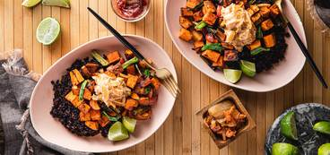 368 173 vegan gochujang veggie bowls with midnight grains   kimchi mayo web horizontal