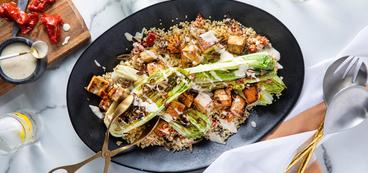 Grilled Caesar Salad with Smoky Tofu & Roasted Tomato Pilaf