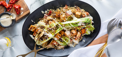 Grilled Caesar Salad with Smoky Tofu & Roasted Tomato Pilaf