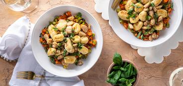 Spring Vegetable Gnocchi with White Beans & Lemon Basil Butter