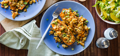 Loaded Sweet Potatoes with Five-Spice Tempeh & Charred Scallion Miso Butter