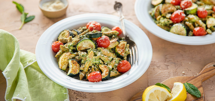 Mint Walnut Pesto Penne with Roasted Zucchini & Grape Tomatoes