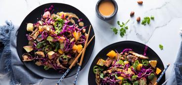 Warm Japanese Yam & Shiitake Salad with Orange & Spicy Peanut Dressing