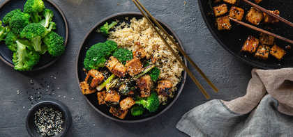 General Tso's Tofu with Quinoa & Steamed Broccoli