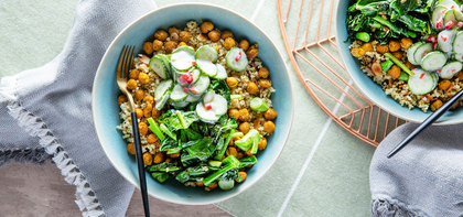 Curried Chickpea Bowls with Millet Pilaf & Spicy Yogurt Cucumbers