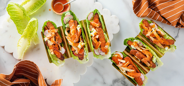 Buffalo Tempeh Tacos with Celery Radish Slaw & Lettuce Cups