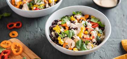 Street Corn Bowls with Black Beans & Fiery Lime Sauce
