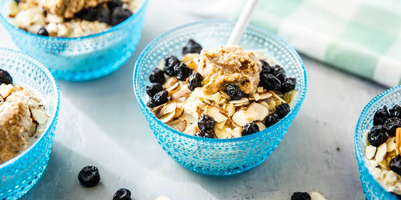 Lemon Poppy Overnight Oats with Dried Blueberries & Almonds