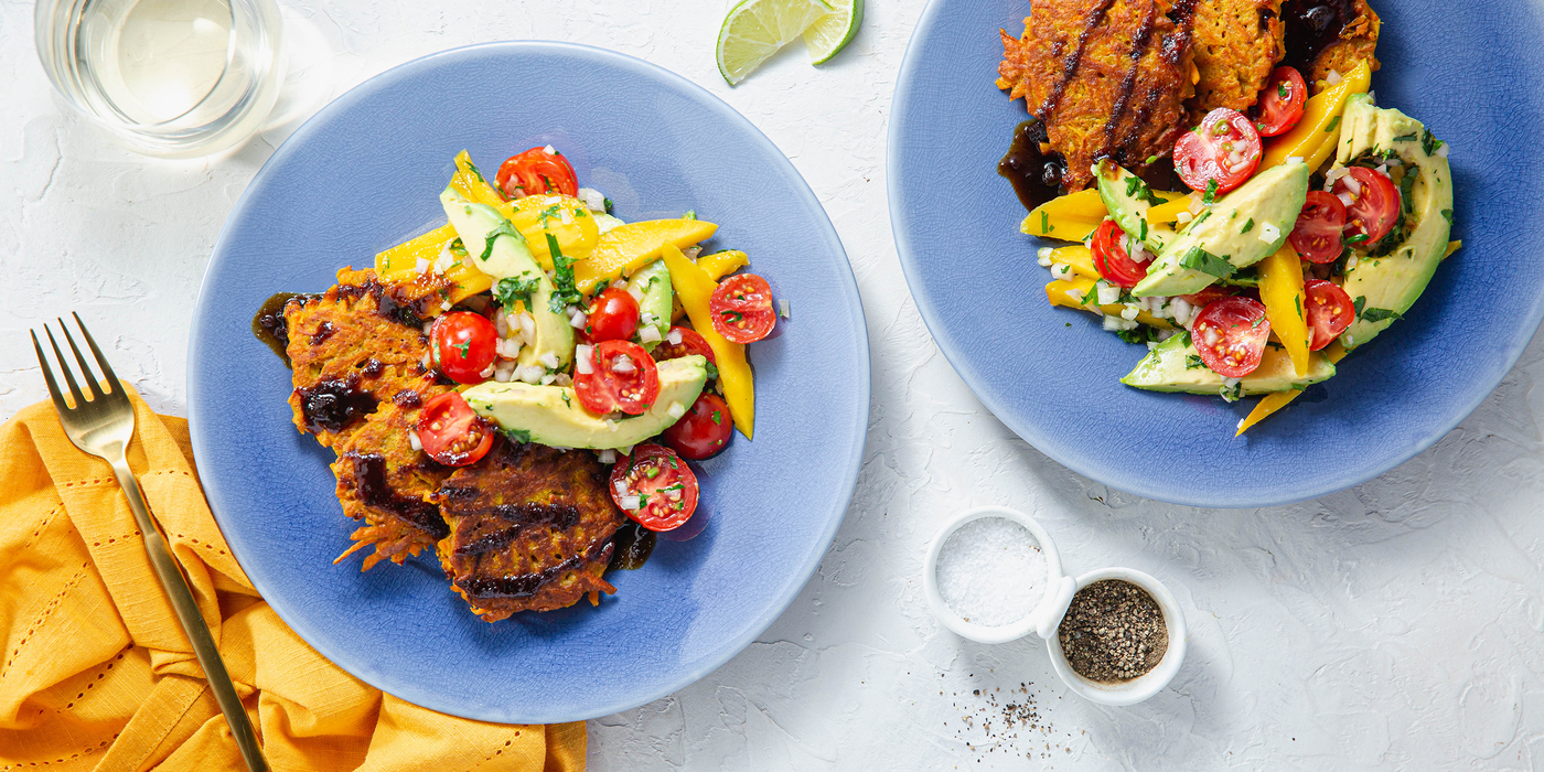 Curried Carrot Fritters with Mango Avocado Salad & Tamarind Chutney