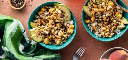 Fresh Peach Poke Bowls with Macadamia Nuts & Nori