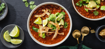 Tortilla Soup with Smoky Ancho Chile & Avocado