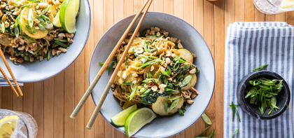 Spicy Almond Butter Noodles with Gai Lan & Yellow Squash