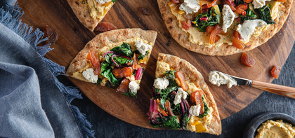 Mediterranean Flatbreads with Apricots & Cashew Cheese