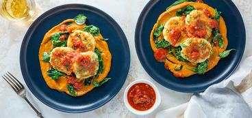 Potato Malai Kofta with Sautéed Spinach & Tomato Chutney