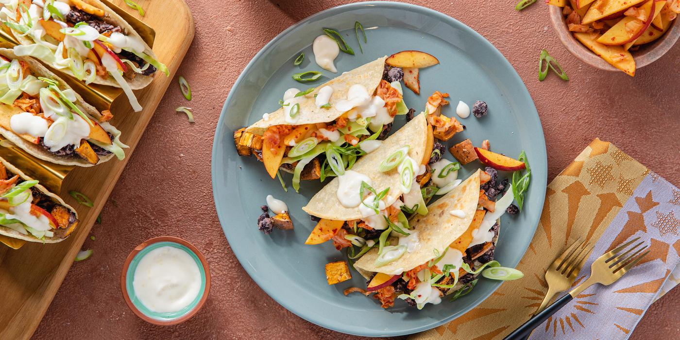 Sweet Potato Black Bean Tacos with Peach Kimchi & Citrus Aioli