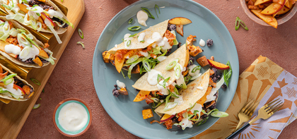 Sweet Potato Black Bean Tacos with Peach Kimchi & Citrus Aioli