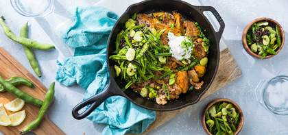 Crispy Potato Skillet with Snap Pea Slaw & Jalapeño Sour Cream