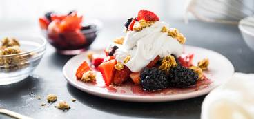 Macerated Berries with Coconut Whipped Cream and Granola