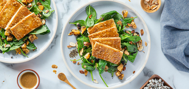 Hoisin Tofu Steaks with Sticky Rice & Spinach Poppy Seed Salad