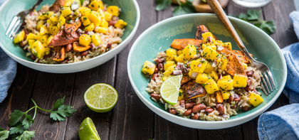 Caribbean Sweet Potatoes with Coconut Rice & Mango Salsa