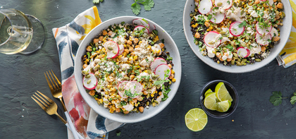 Elote Bowls with Lime Chickpeas & Black Quinoa