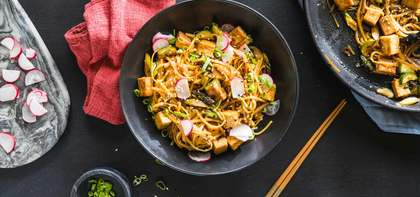 Quick Sesame Noodles with Five-Spice Tofu, Cucumber & Radish