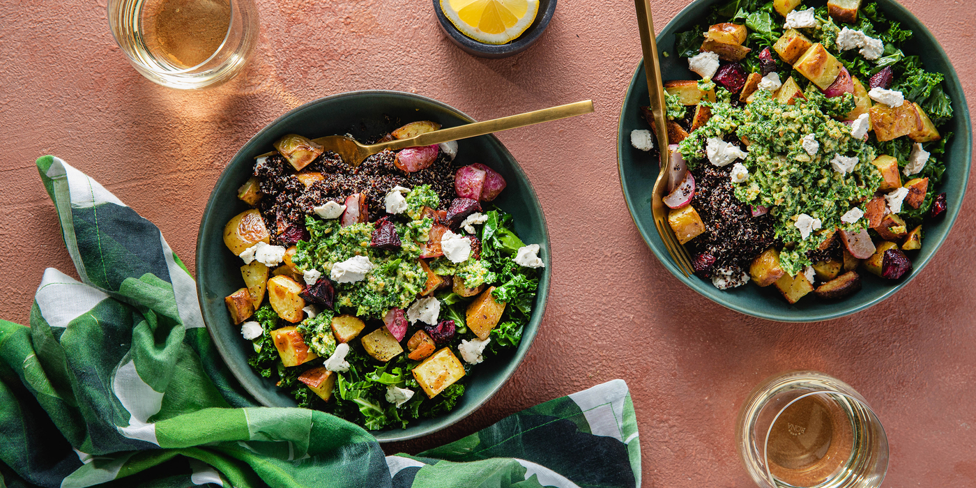 Roasted Vegetable Bowls with Sunflower Seed Pesto & Cashew Cheese