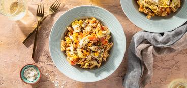 Charred Pepper Ragout with Rotini & Crispy Artichokes