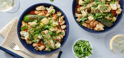 Baked Cauliflower Parmesan with Zucchini & Crispy Butter Beans