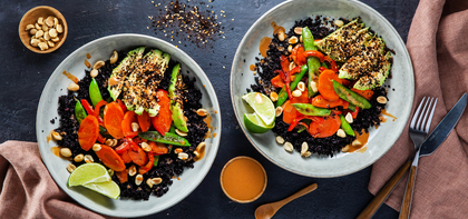 Peanut Vegetable Buddha Bowls with Midnight Grains & Nori Avocado