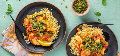 Moroccan Vegetable Tagine with Harissa & Mint Pistachio Pistou