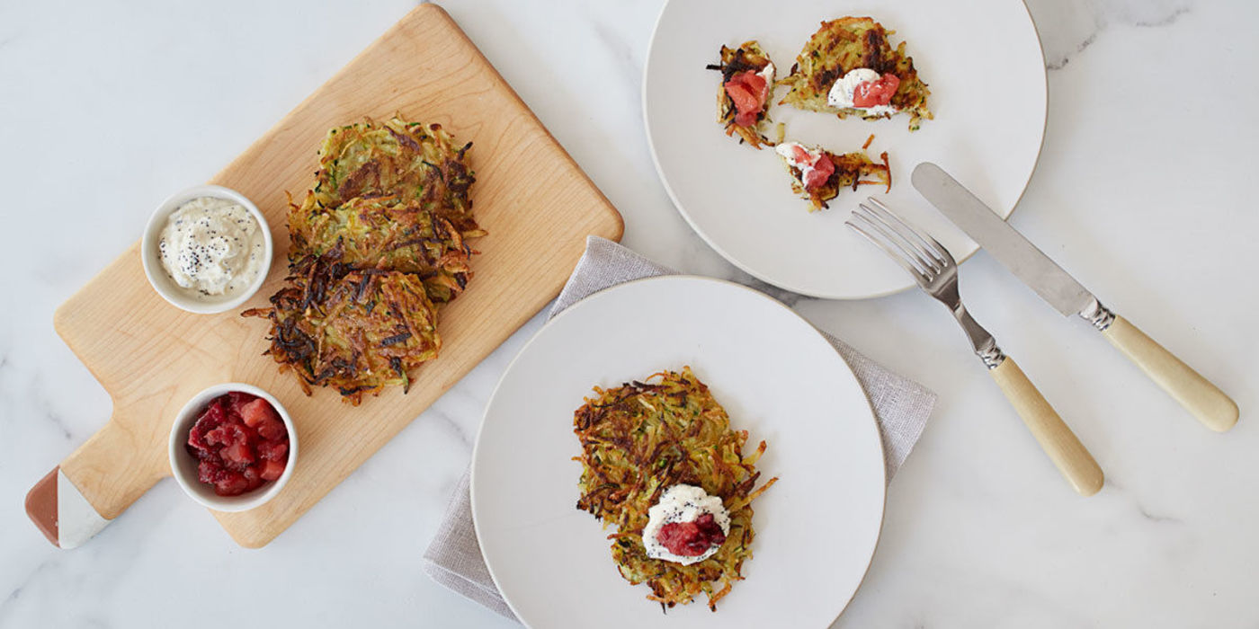 "Latkes with Cran-Apple Compote and ""Sour Cream"""