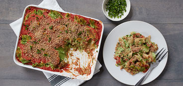 368 173 aa8b ac25 vegan creamy baked pasta with spinach dish hero
