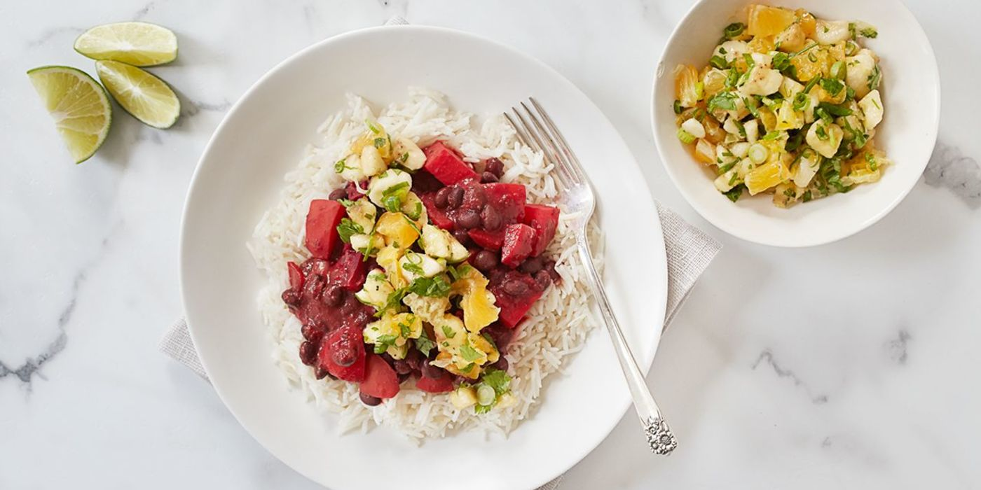 1400 700 d476 3c8a vegan brazilian black beans and beets with coconut rice and tropical salsa hero