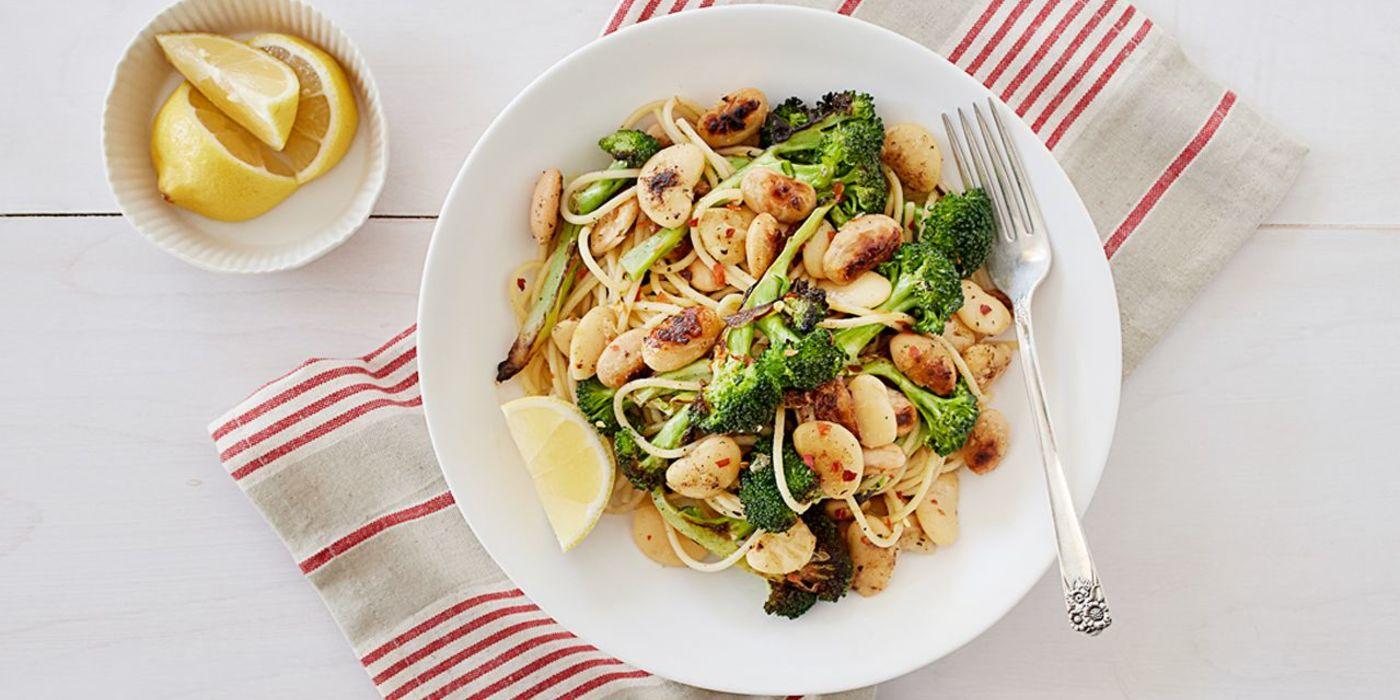 1400 700 9cc2 fafb vegan broccoli pasta with crisp butter beans hero