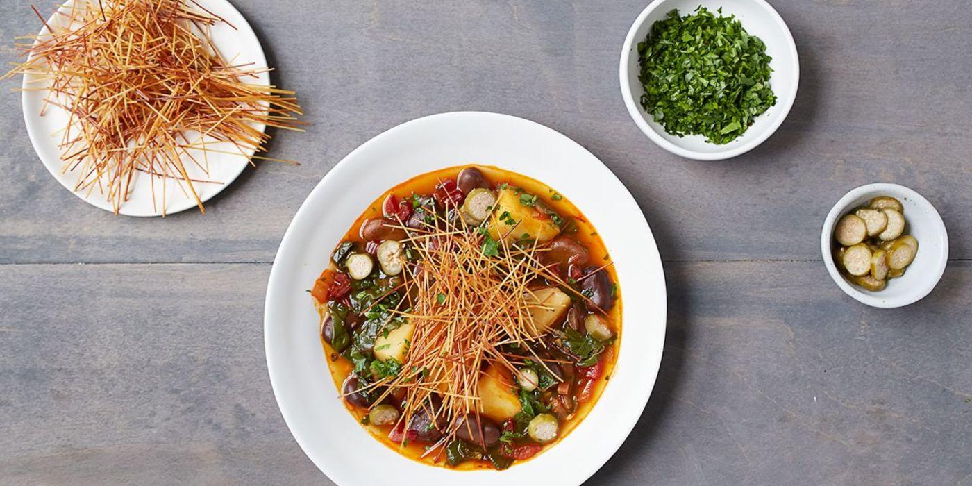 1400 700 d771 6c7f vegan catalan vegetable stew with crisp fideos hero