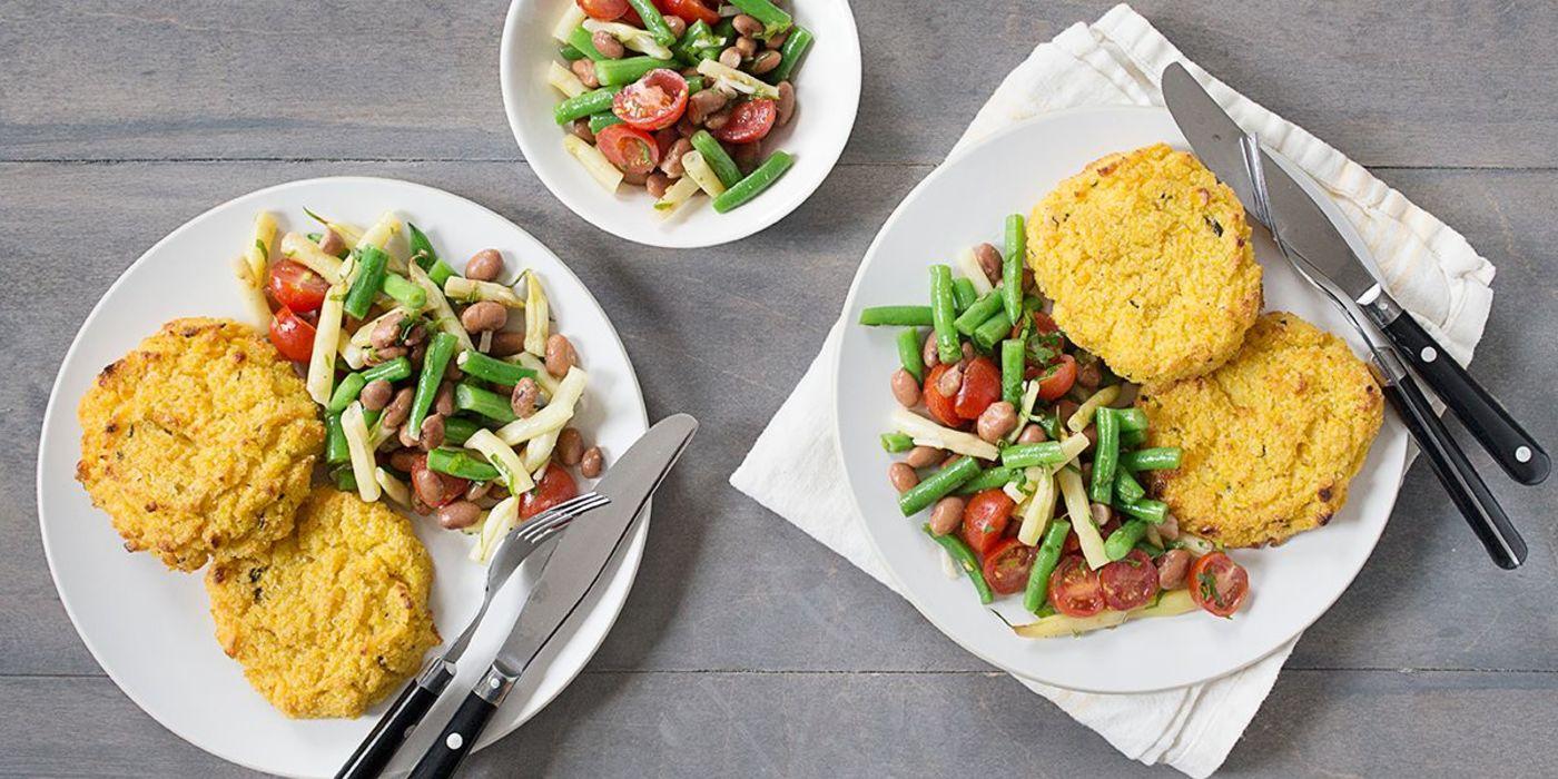 Jalapeño Corn Cakes with Fresh Bean Salad
