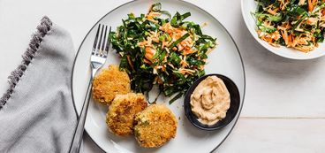 Fabcakes with Collard Slaw and Old Bay Aioli