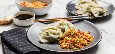Mustard Green and Edamame Dumplings with Ginger Fried Rice