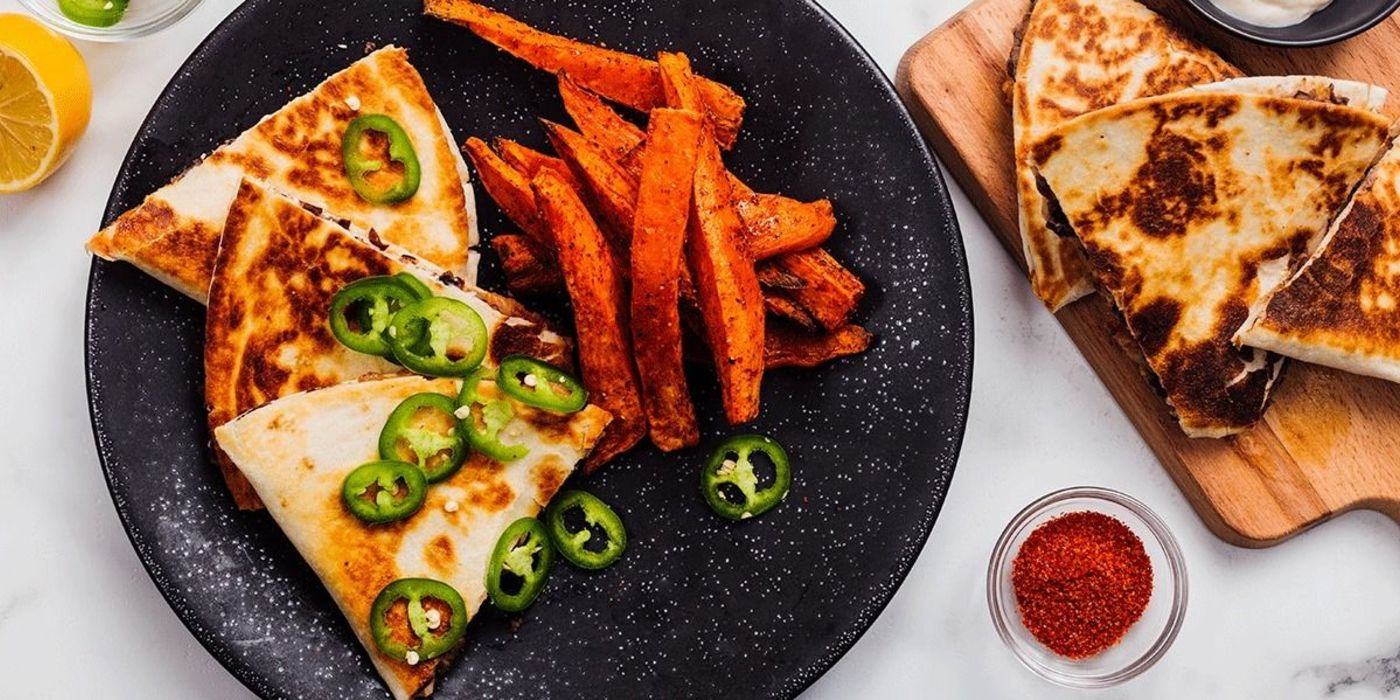 Kimchi Quesadilla with Togarashi Sweet Potato Fries and Meyer Lemon Aioli