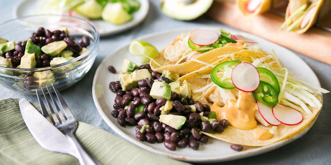 Crispy Hearts of Palm Tacos with Chipotle Aioli & Avocado Black Bean Salad