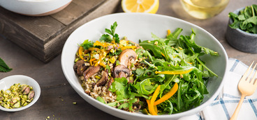 Herbed Barley Bowl with Buttery Mushrooms and Pickled Peppers