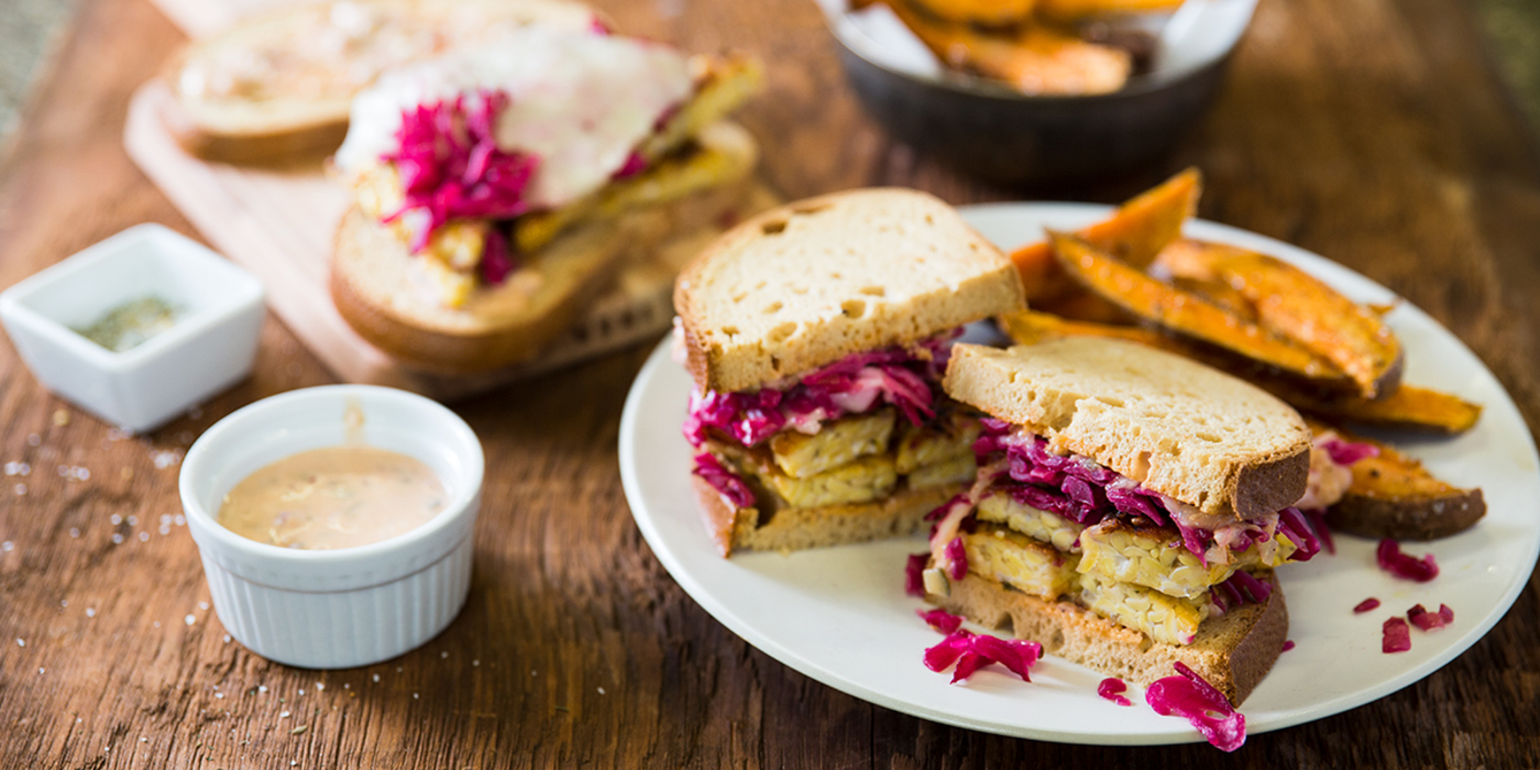 Tempeh Reuben with 1000 Island Dressing and Dilly Sweet Potato Fries