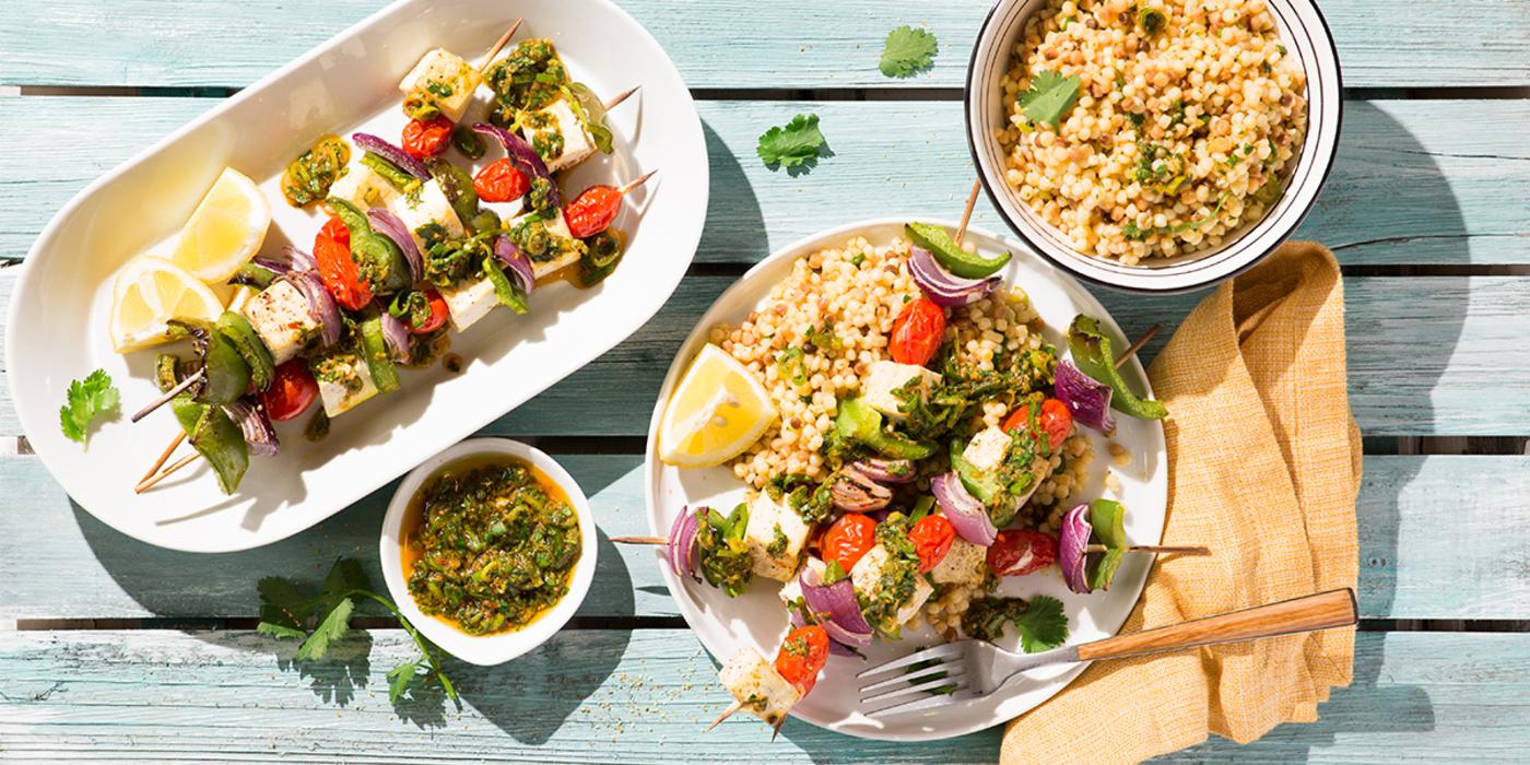 Tofu Vegetable Skewers with Chermoula Sauce & Fregola