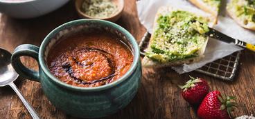 Strawberry Cherry Tomato Gazpacho with Avocado Toast & Balsamic Reduction