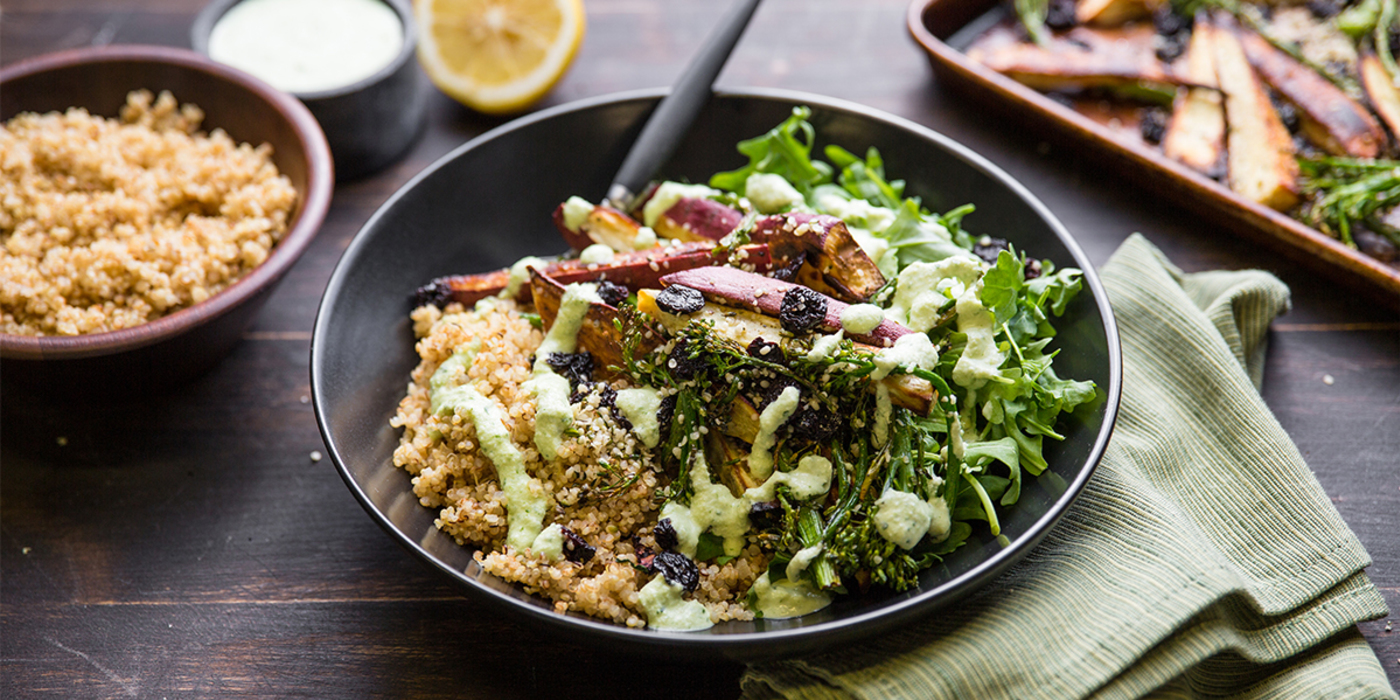 Power Bowl with Roasted Japanese Sweet Potato and Herb Almond Sauce