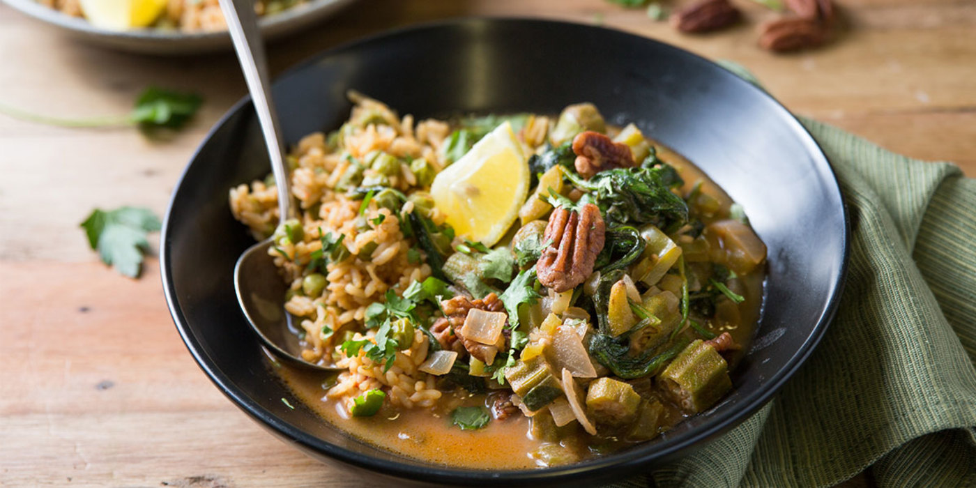 Cajun Gumbo with Pecans and Dirty Rice